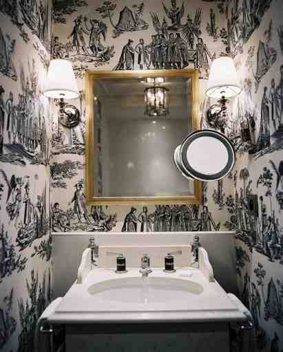 Toile away styleaspirations - Toile bathroom decor ...